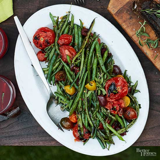Blistered Green Beans with Charred Tomato Puttanesca