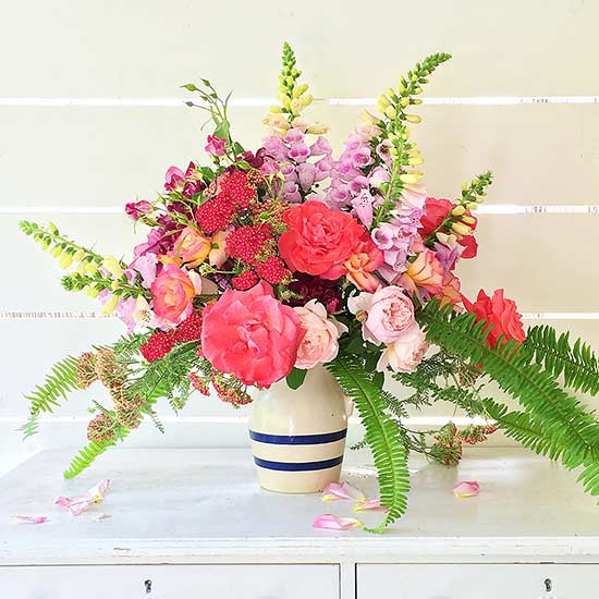 1 garden rose fern and foxglove - Common Flowers In Arrangements
