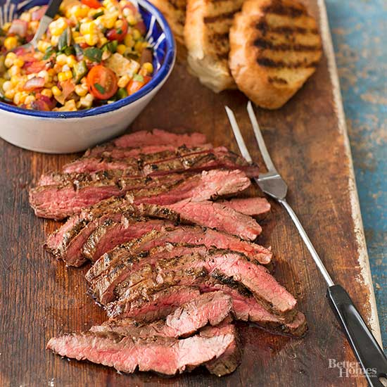 Peppered Beef Flank Steak with Grilled Corn Relish