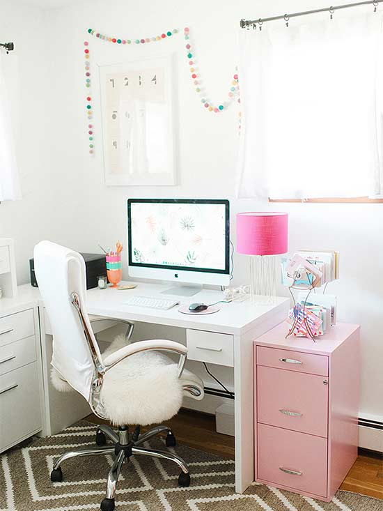 A Real Life Retro Home Office Goes Rose Quartz