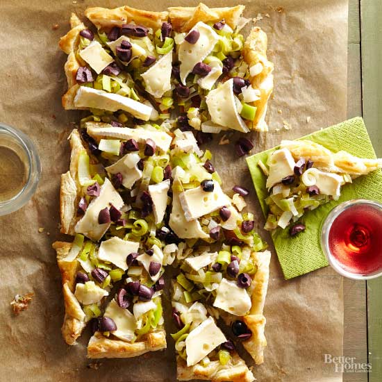Leek-Olive Tart with Brie