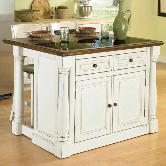 This Stylish Kitchen Island Comes With Two Stools And Plenty Of Storage.  The Antique White, Sanded And Distressed Oak Finish Makes This Island The  Perfect ...