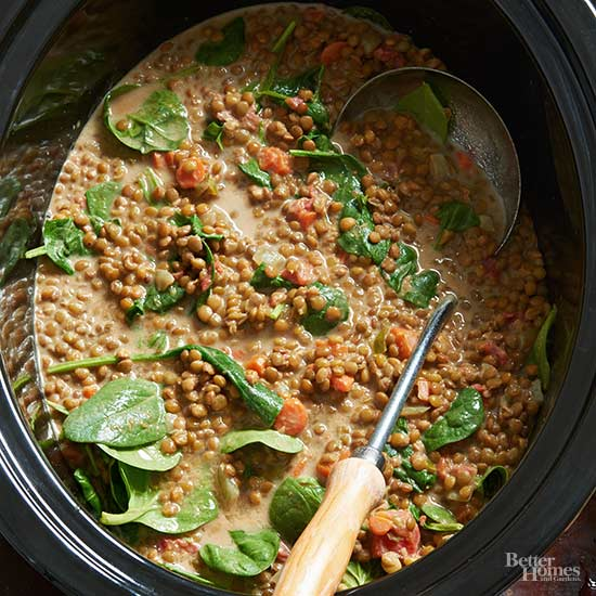 Indian Spiced Lentils with Spinach