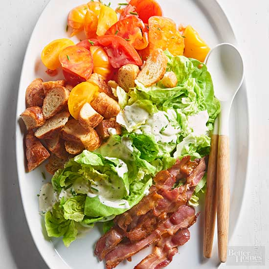 Blt salad with creamy chive dressing Bhg recipes may 2016
