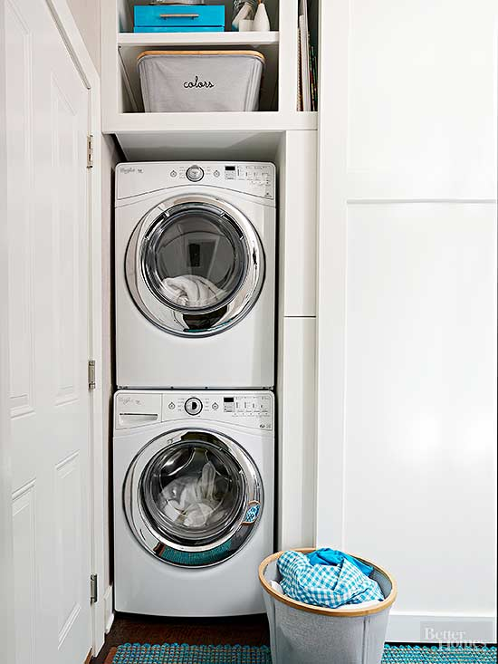 consider installing a stackable washer and dryer or an allinone machine that washes and dries to leave open space for adding vertical shelving
