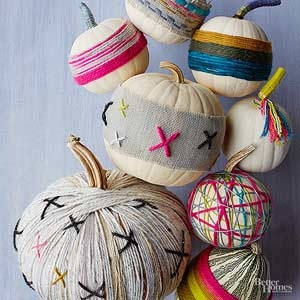 No-Carve Pumpkins Decorated with Yarn!
