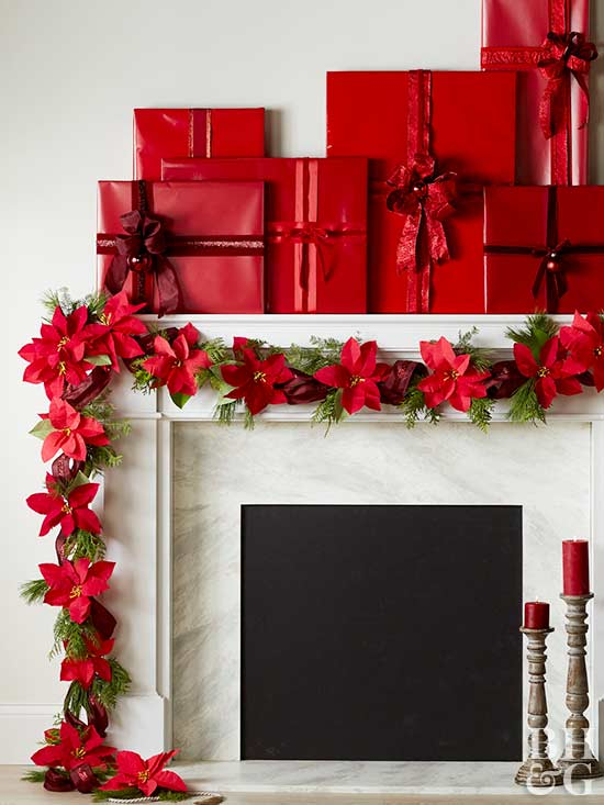 poinsettias swag above mantel
