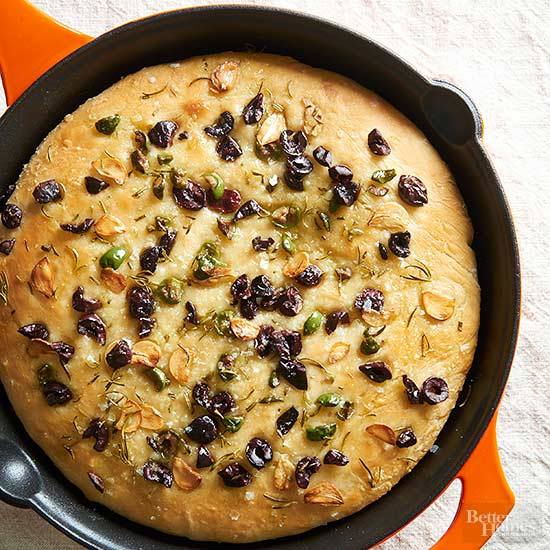 Double-Olive No-Knead Skillet Focaccia