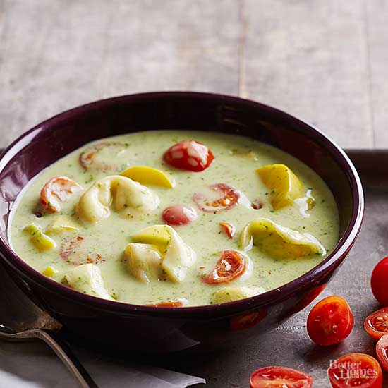 Slow Cooker Creamy Vegetable and Tortellini Soup with Pesto
