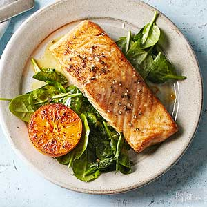 Orange Salmon With Spinach