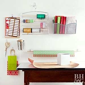 Easy Ways to Store Gift Wrapping Supplies from Better Homes & Gardens
