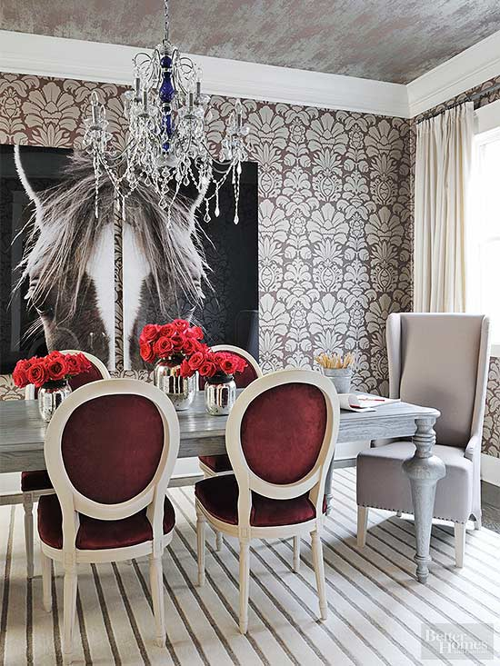 When Patterns Are Plenty, Keep Color To A Minimum. In This Formal Dining  Room, A Simple Red Velvet Accent Color On Dining Chairs Is All Thatu0027s  Needed. Part 48