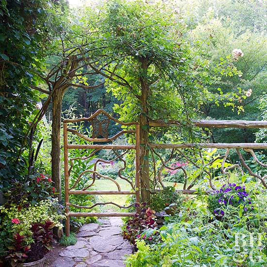 Wild Landscapes Call For Rough Hewn Arch Trellises Built From Natural  Materials. Curly Willow Branches And Hefty Timbers Compose A Fetching Fence  That ...