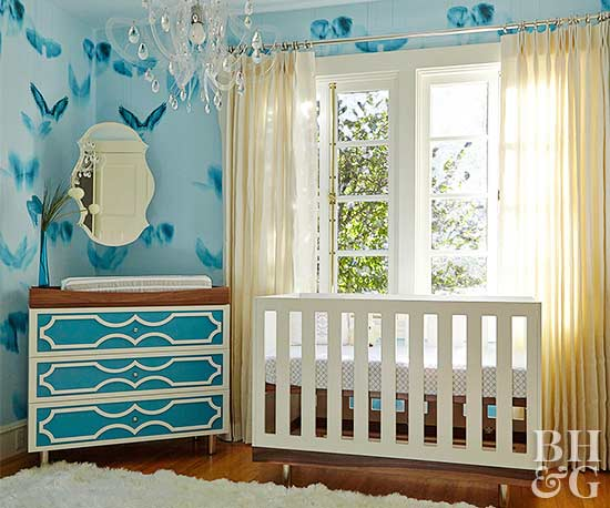 Blue White And Yellow Nursery
