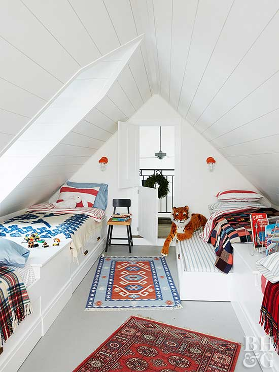 decorating a small bedroom can get extra tricky with odd nooks and corners use light crisp colors to combat unique features like lower ceilings - Decorate Small Bedroom