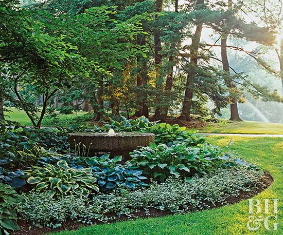 Hosta filled shade garden Better homes and gardens flower bed designs