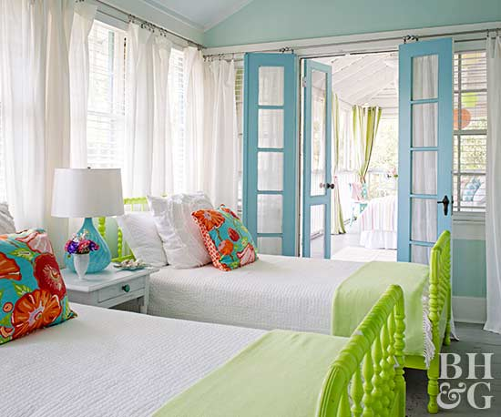 This Beach House Guest Room Is Little, But Clever Small Shared Bedroom Ideas  Make It Feel Spacious. Use Light And Bright Colors When Putting Together A  ...