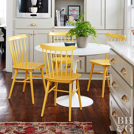 Glossy Furniture Serves Dual Purposes. The First Is Good Looks: These High Gloss  Chairs Are Showstoppers At A Contrasting Midcentury Modern Table.