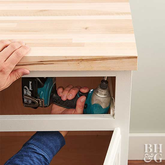 how to cut sink hole in butcher block countertop