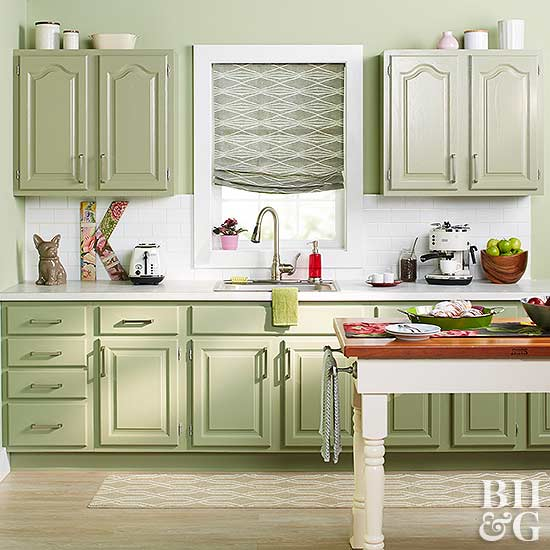 Kitchen With Green Cabinets And White Tile Backsplash Great Pictures