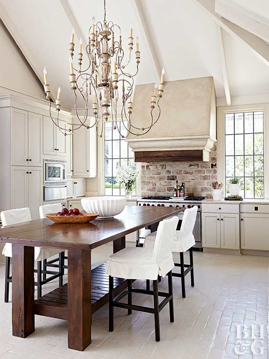 bright tuscan kitchen with arched ceilings