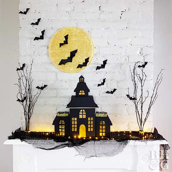 fireplace decor brick halloween decor