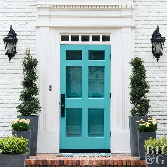 Teal Door Shrubs Brick