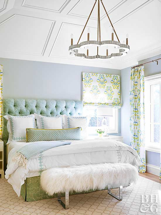 Chandelier, Tufted Headboard, Bedroom