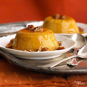 Pumpkin Custards with Peppery Pecans