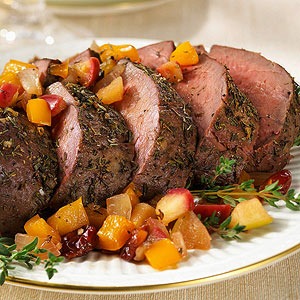Beef Tenderloin with Onion-Cherry Chutney