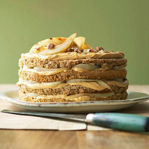 Hazelnut-Pear Torte with Dulce de Leche Filling