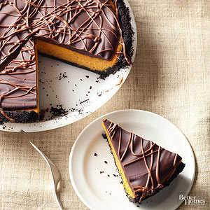 Chocolate-Glazed Pumpkin Pie Cheesecake