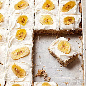 Banana Bars with Butter-Rum Frosting