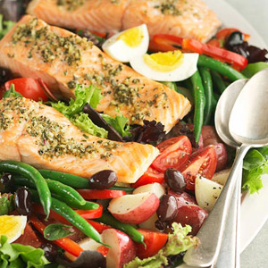 Grilled Salmon Salad Nicoise