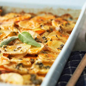 Herbed Yukon Gold and Sweet Potato Gratin