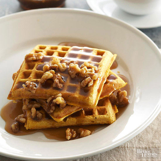 Pumpkin Waffles with Maple-Walnut Cream