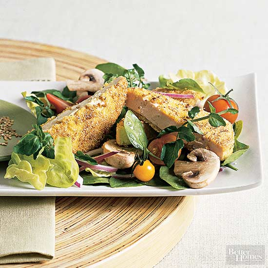Fried Tofu and Watercress Salad