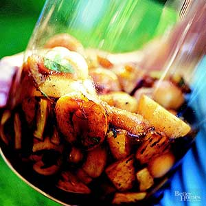 Grilled Apricots and Pineapple with Mint Syrup