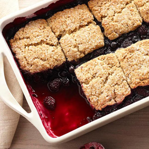 Black-and-Blue Cobbler with Brown Sugar-Pecan Biscuits