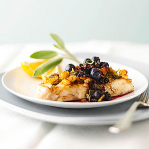 Grilled Halibut with Blueberry-Pepper Sauce