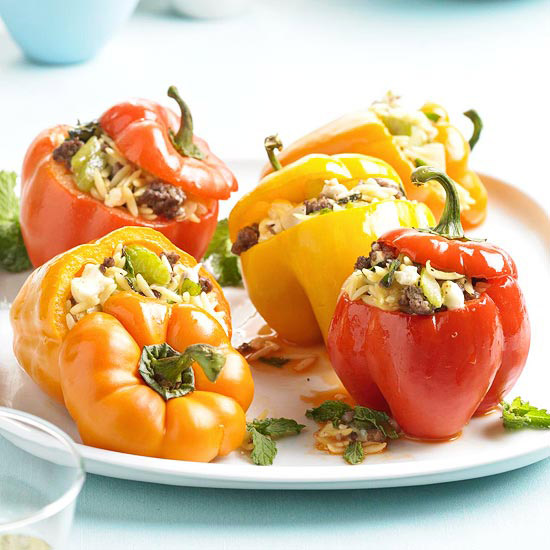Orzo Stuffed Peppers with Feta and Mint