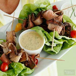 Grilled Flank Steak with Triple Dipping Sauces