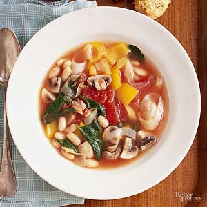 Vegetable Soup with Corn Bread Croutons