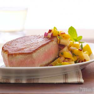 Tuna with Mango-Mint Salsa