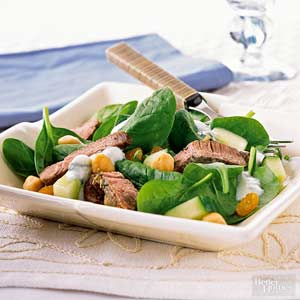 Greek Lamb Salad with Yogurt Dressing