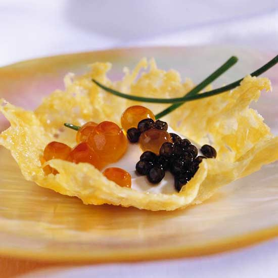 Cheese Crisps with Creme Fraiche and Caviar