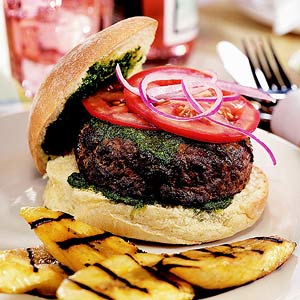 Chimichurri Burgers with Grilled Plantains