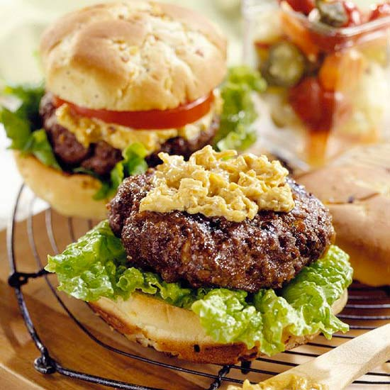 Surf and Turf Burgers with Spicy Caramelized Mayo