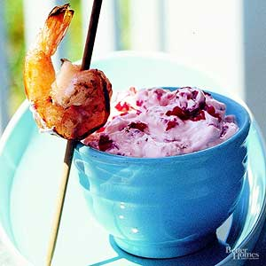 Grilled Red Pepper Dip with Shrimp