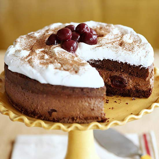 Chocolate-Zabaglione Cake with Cherries